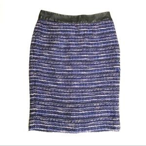 The Limited Tweed Faux Leather Pencil Skirt 0 New